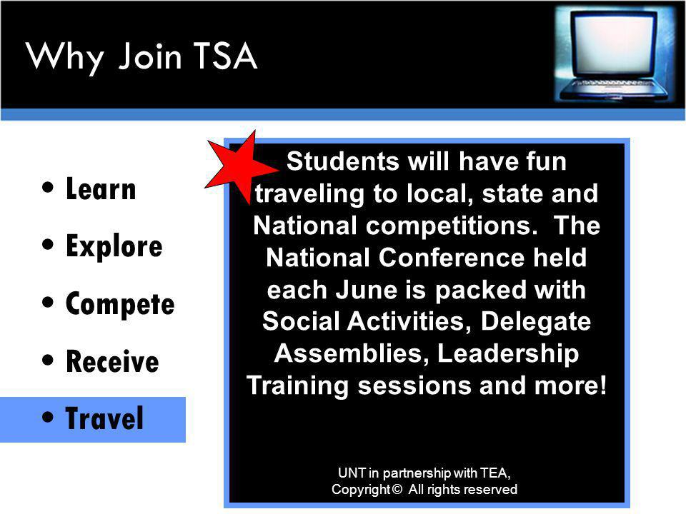 Travel to National TSA Conferences Past and future locations below UNT in partnership with TEA, Copyright © All rights reserved