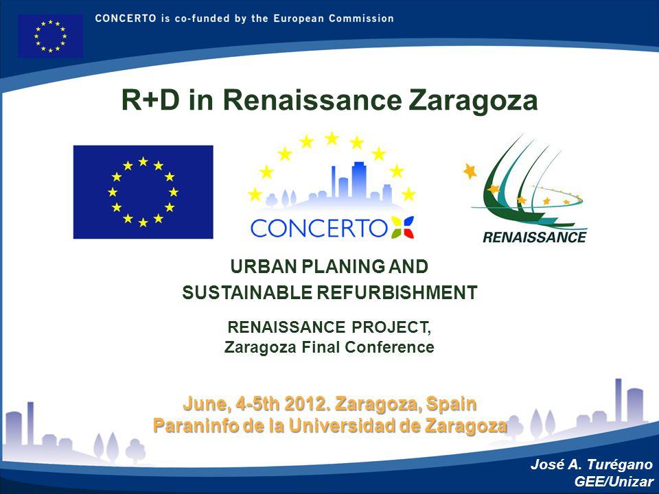 RENAISSANCE es un proyecto del programa CONCERTO co-financiado por la Comisión Europea dentro del Sexto Programa Marco RENAISSANCE - ZARAGOZA - SPAIN June, 4-5th 2012.