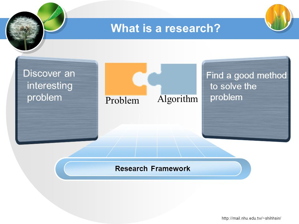 http://mail.nhu.edu.tw/~shihhsin/ What is a research.