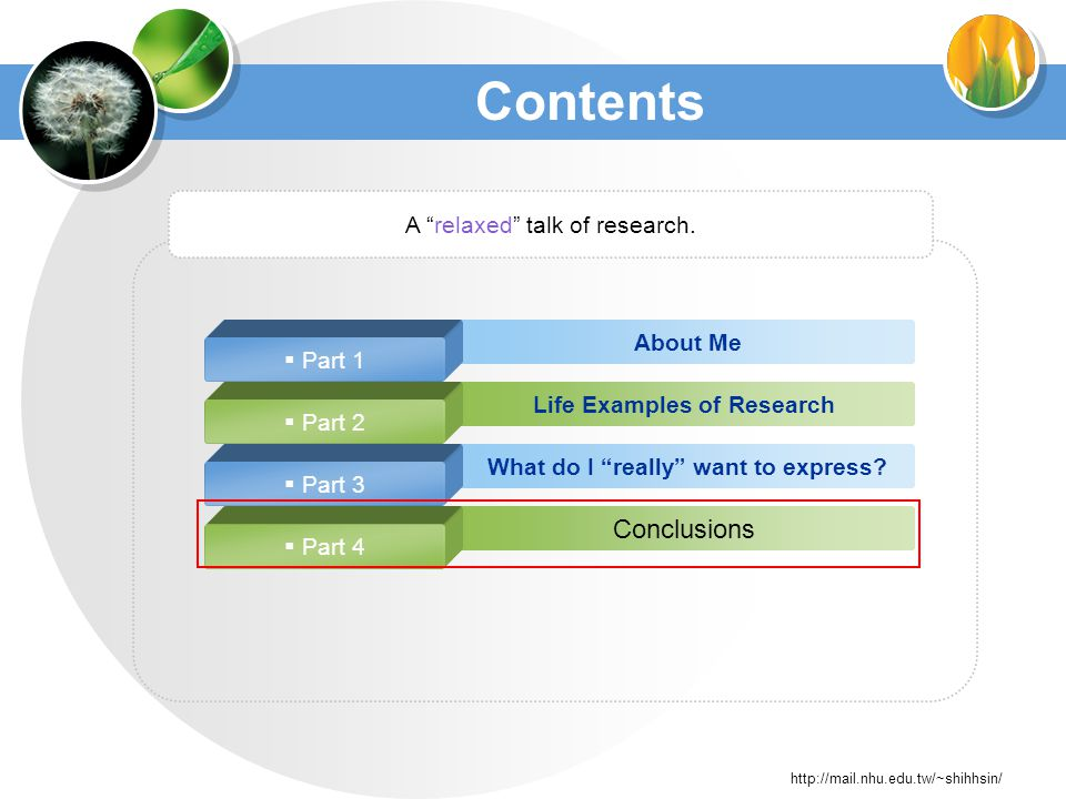 http://mail.nhu.edu.tw/~shihhsin/ About Me Life Examples of Research What do I really want to express.