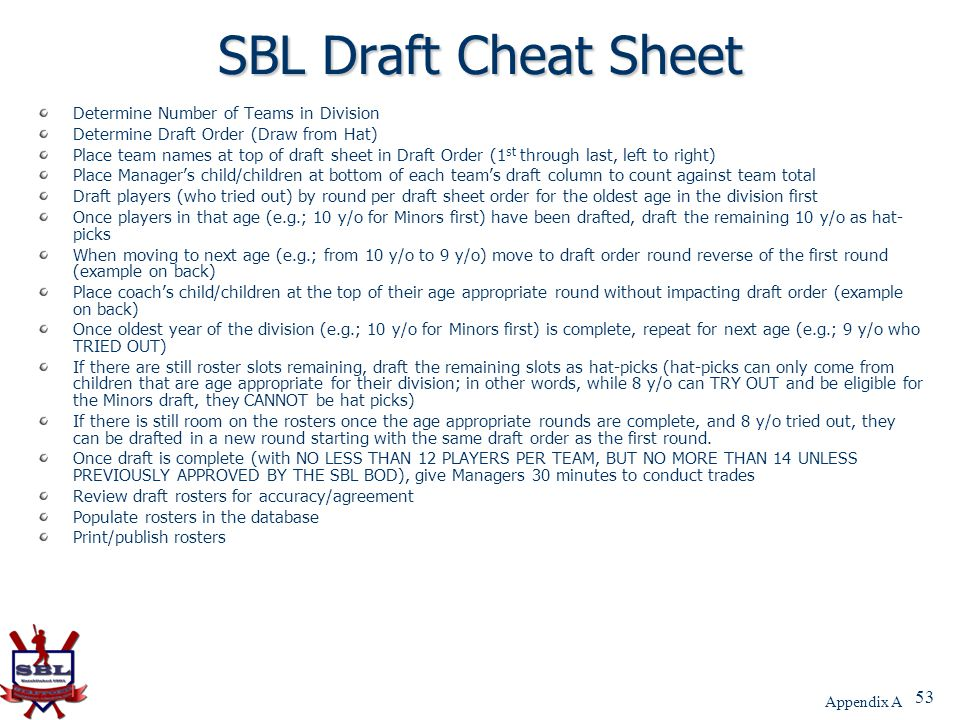 53 SBL Draft Cheat Sheet Determine Number of Teams in Division Determine Draft Order (Draw from Hat) Place team names at top of draft sheet in Draft O