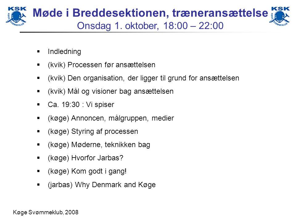 Køge Svømmeklub, 2008 Indledning (kvik) Processen før ansættelsen (kvik) Den organisation, der ligger til grund for ansættelsen (kvik) Mål og visioner bag ansættelsen Ca.