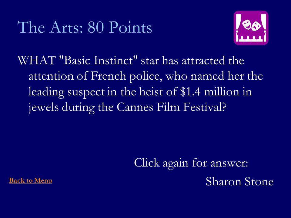The Arts: 80 Points WHAT Basic Instinct star has attracted the attention of French police, who named her the leading suspect in the heist of $1.4 million in jewels during the Cannes Film Festival.