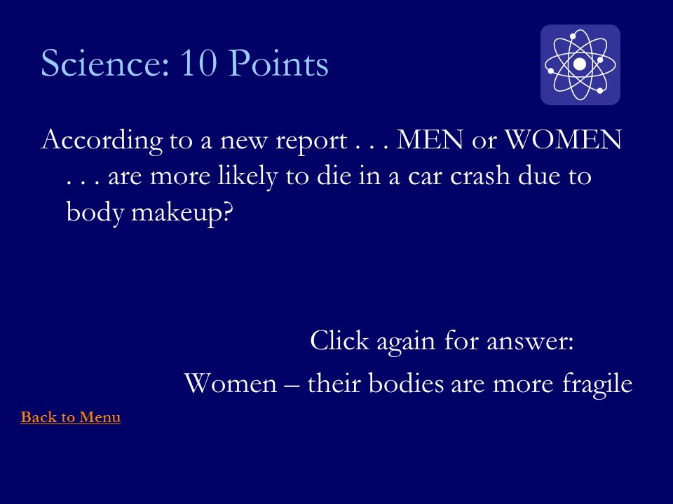 Science: 10 Points According to a new report... MEN or WOMEN...