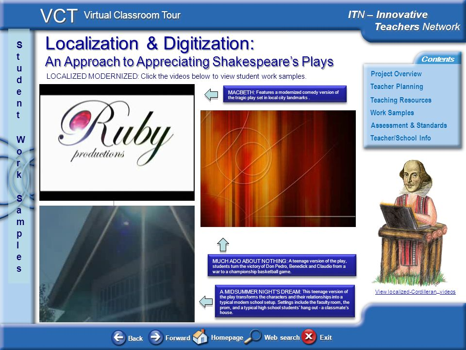 Localization & Digitization: An Approach to Appreciating Shakespeares Plays BackBack ForwardForward HomepageHomepage ExitExit Project Overview ITN – Innovative Teachers Network Teachers Network ITN – Innovative Teachers Network Teachers Network Teacher Planning Assessment & Standards Teaching Resources Teacher/School Info Contents VCT Virtual Classroom Tour Web search Work Samples LOCALIZED MODERNIZED: Click the videos below to view student work samples.
