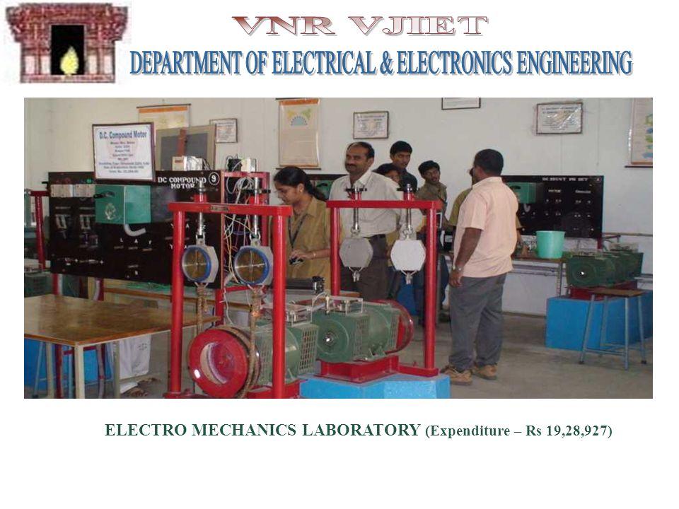 ELECTRO MECHANICS LABORATORY (Expenditure – Rs 19,28,927)