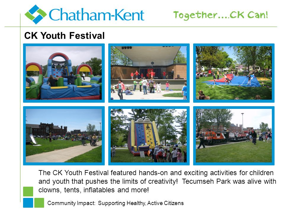 CK Youth Festival Community Impact: Supporting Healthy, Active Citizens The CK Youth Festival featured hands-on and exciting activities for children a