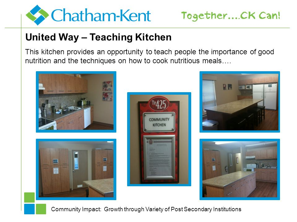 United Way – Teaching Kitchen Community Impact: Growth through Variety of Post Secondary Institutions This kitchen provides an opportunity to teach pe
