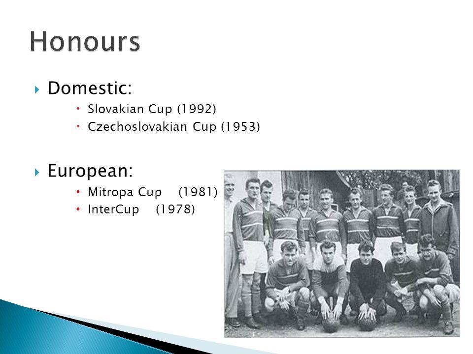 Domestic: Slovakian Cup (1992) Czechoslovakian Cup (1953) European: Mitropa Cup (1981) InterCup (1978)