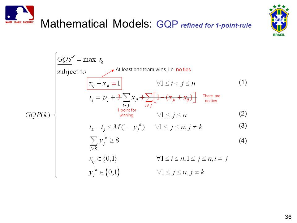 36 Mathematical Models: GQP refined for 1-point-rule (1) (2) (3) (4) At least one team wins, i.e.