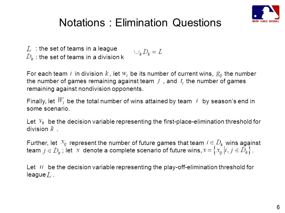 6 Notations : Elimination Questions Let be the decision variable representing the first-place-elimination threshold for division.
