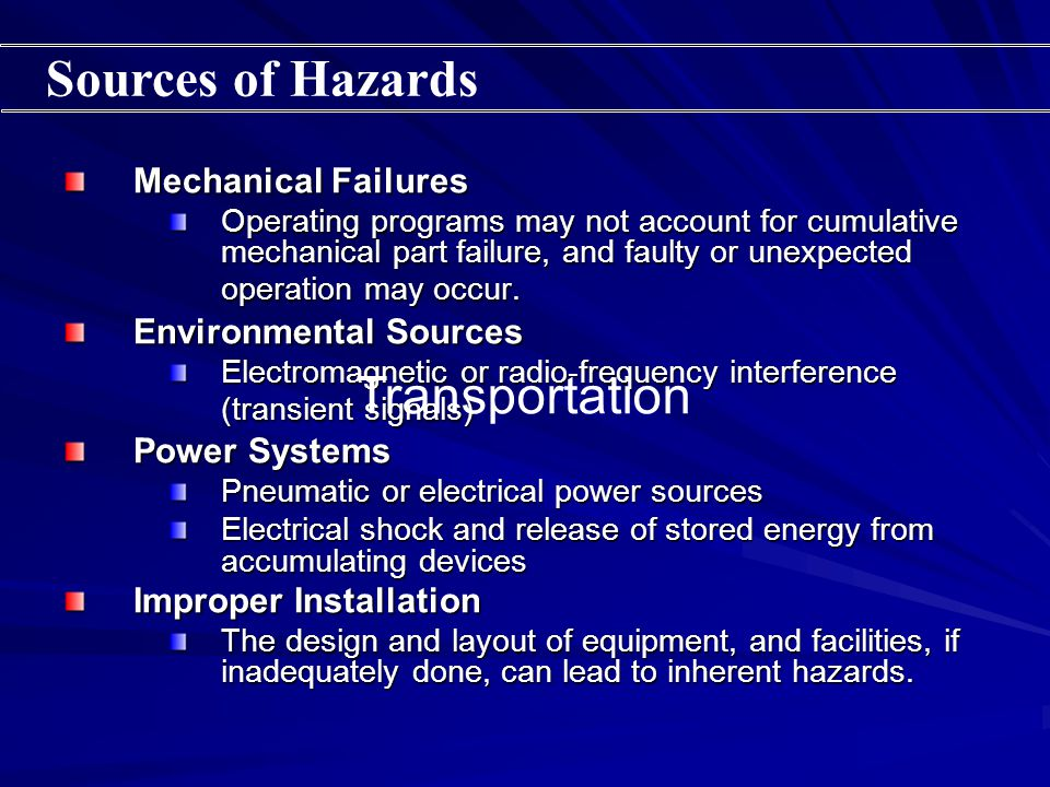 Mechanical Failures Operating programs may not account for cumulative mechanical part failure, and faulty or unexpected operation may occur.