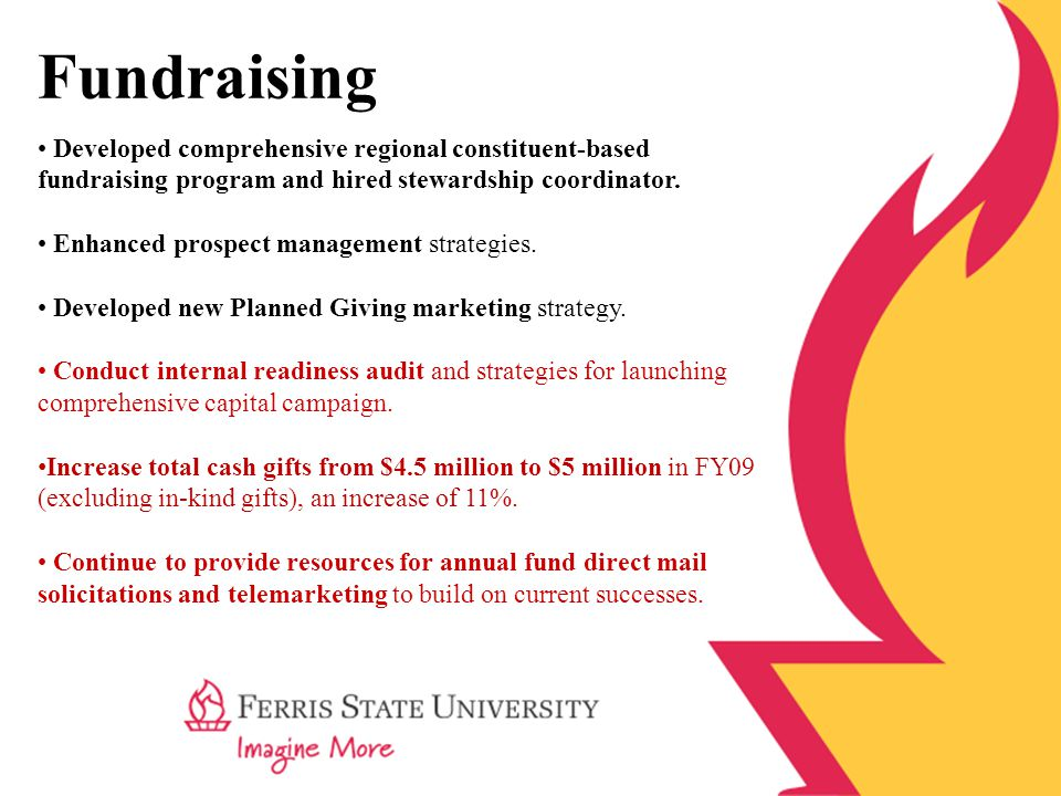 Fundraising Developed comprehensive regional constituent-based fundraising program and hired stewardship coordinator.