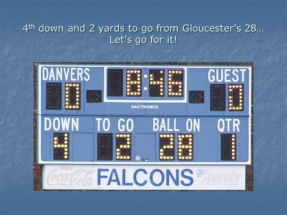 4 th down and 2 yards to go from Gloucesters 28… Lets go for it!