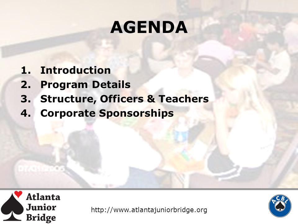 http://www.atlantajuniorbridge.org AGENDA 1.Introduction 2.Program Details 3.Structure, Officers & Teachers 4.Corporate Sponsorships