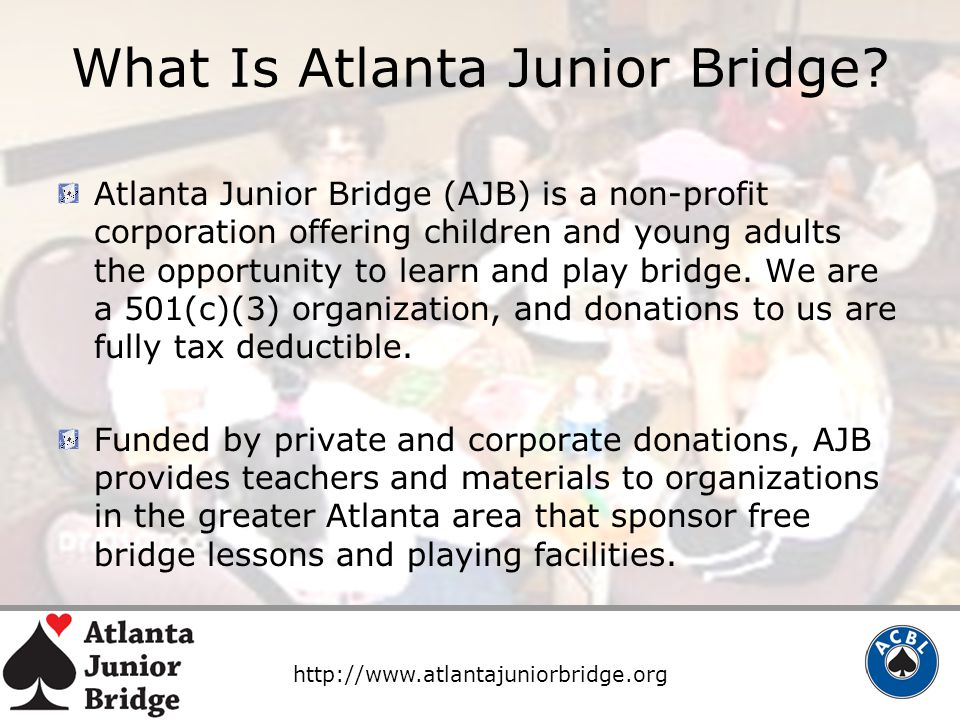 http://www.atlantajuniorbridge.org What Is Atlanta Junior Bridge.