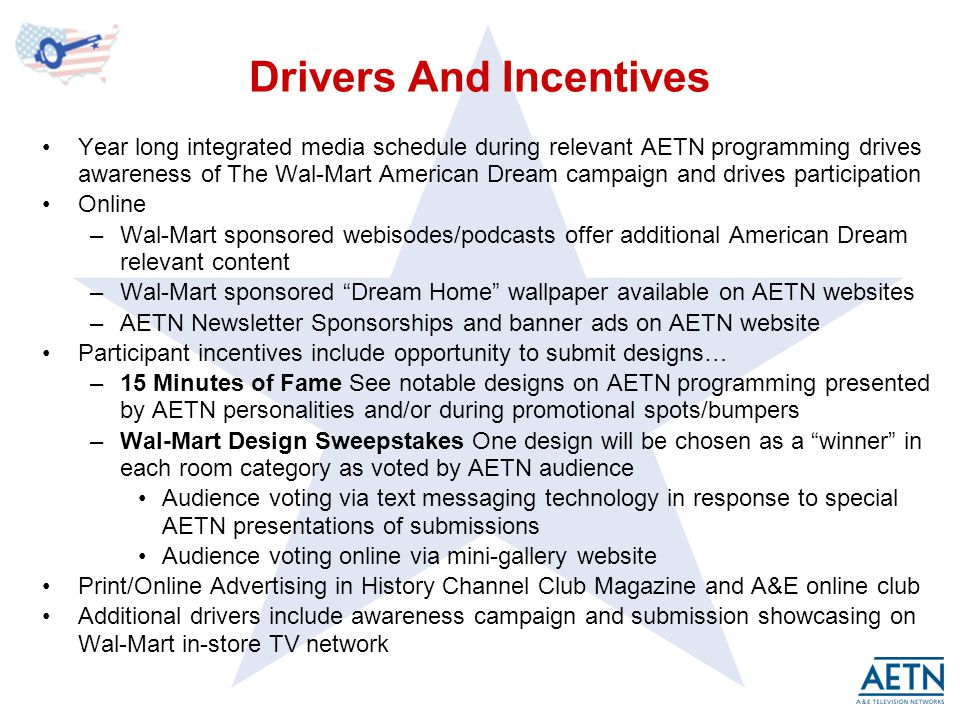 Drivers And Incentives Year long integrated media schedule during relevant AETN programming drives awareness of The Wal-Mart American Dream campaign and drives participation Online –Wal-Mart sponsored webisodes/podcasts offer additional American Dream relevant content –Wal-Mart sponsored Dream Home wallpaper available on AETN websites –AETN Newsletter Sponsorships and banner ads on AETN website Participant incentives include opportunity to submit designs… –15 Minutes of Fame See notable designs on AETN programming presented by AETN personalities and/or during promotional spots/bumpers –Wal-Mart Design Sweepstakes One design will be chosen as a winner in each room category as voted by AETN audience Audience voting via text messaging technology in response to special AETN presentations of submissions Audience voting online via mini-gallery website Print/Online Advertising in History Channel Club Magazine and A&E online club Additional drivers include awareness campaign and submission showcasing on Wal-Mart in-store TV network