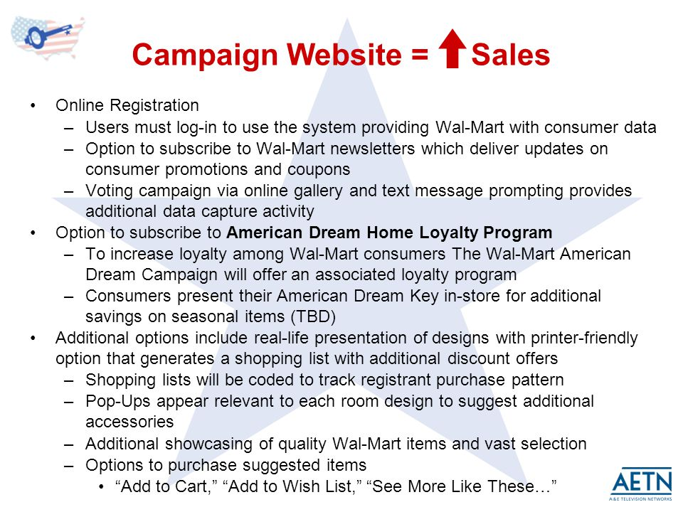 Campaign Website = Sales Online Registration –Users must log-in to use the system providing Wal-Mart with consumer data –Option to subscribe to Wal-Mart newsletters which deliver updates on consumer promotions and coupons –Voting campaign via online gallery and text message prompting provides additional data capture activity Option to subscribe to American Dream Home Loyalty Program –To increase loyalty among Wal-Mart consumers The Wal-Mart American Dream Campaign will offer an associated loyalty program –Consumers present their American Dream Key in-store for additional savings on seasonal items (TBD) Additional options include real-life presentation of designs with printer-friendly option that generates a shopping list with additional discount offers –Shopping lists will be coded to track registrant purchase pattern –Pop-Ups appear relevant to each room design to suggest additional accessories –Additional showcasing of quality Wal-Mart items and vast selection –Options to purchase suggested items Add to Cart, Add to Wish List, See More Like These…