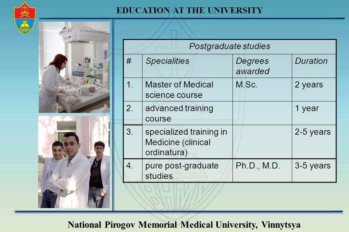 National Pirogov Memorial Medical University, Vinnytsya EDUCATION AT THE UNIVERSITY Postgraduate studies #SpecialitiesDegrees awarded Duration 1.Maste
