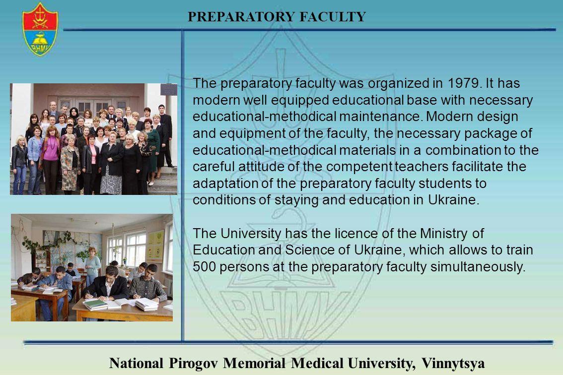 National Pirogov Memorial Medical University, Vinnytsya PREPARATORY FACULTY The preparatory faculty was organized in 1979. It has modern well equipped
