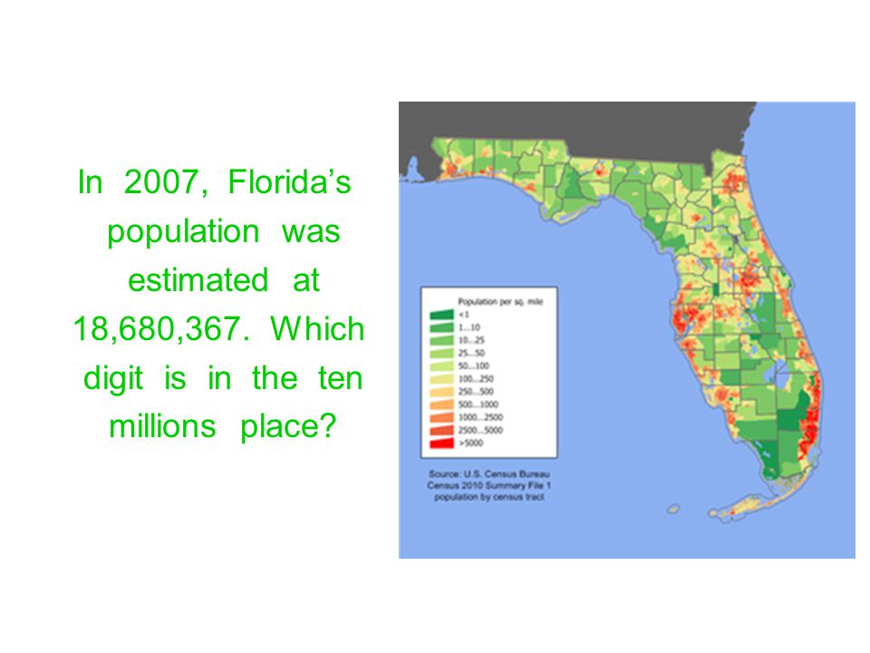 In 2007, Floridas population was estimated at 18,680,367. Which digit is in the ten millions place?