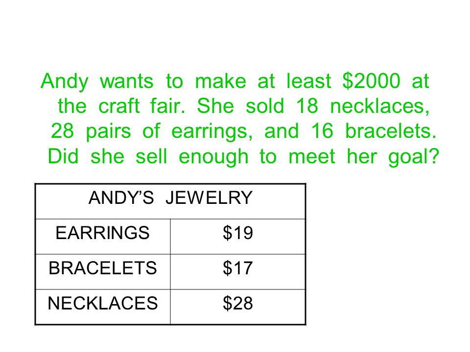 Andy wants to make at least $2000 at the craft fair. She sold 18 necklaces, 28 pairs of earrings, and 16 bracelets. Did she sell enough to meet her go