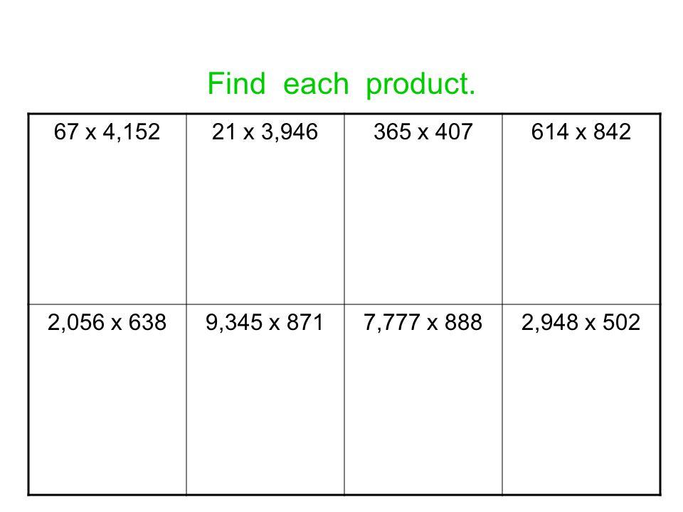 Find each product. 67 x 4,15221 x 3,946365 x 407614 x 842 2,056 x 6389,345 x 8717,777 x 8882,948 x 502