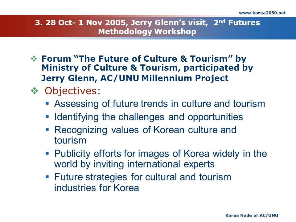 www.korea2050.net Korea Node of AC/UNU 3. 28 Oct- 1 Nov 2005, Jerry Glenns visit, 2 nd Futures Methodology Workshop Forum The Future of Culture & Tour