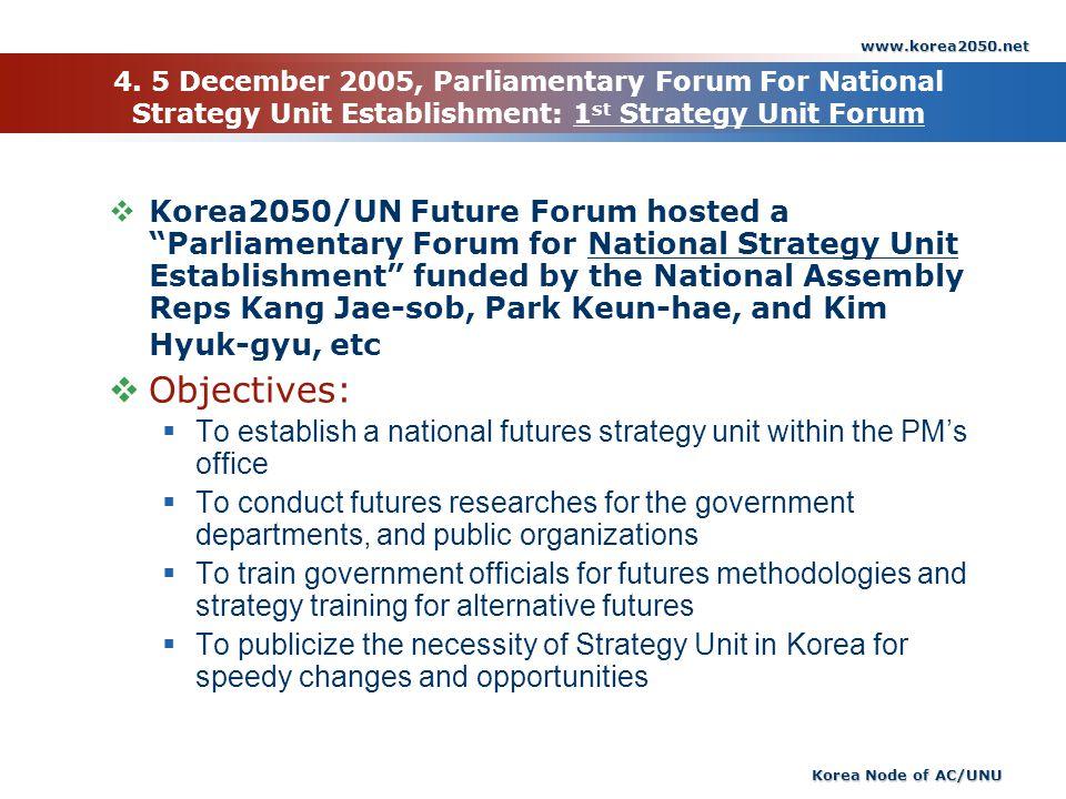 www.korea2050.net Korea Node of AC/UNU 4. 5 December 2005, Parliamentary Forum For National Strategy Unit Establishment: 1 st Strategy Unit Forum Kore