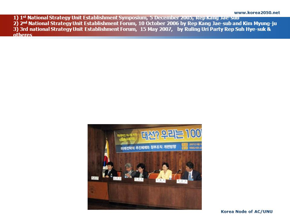 www.korea2050.net Korea Node of AC/UNU 1) 1 st National Strategy Unit Establishment Symposium, 5 December 2005, Rep Kang Jae-sub 2) 2 nd National Strategy Unit Establishment Forum, 10 October 2006 by Rep Kang Jae-sub and Kim Myung-ju 3) 3rd national Strategy Unit Establishment Forum, 15 May 2007, by Ruling Uri Party Rep Suh Hye-suk & otheres
