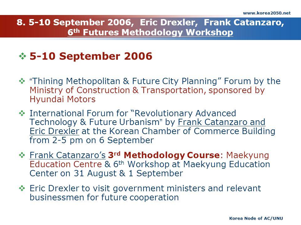www.korea2050.net Korea Node of AC/UNU 8. 5-10 September 2006, Eric Drexler, Frank Catanzaro, 6 th Futures Methodology Workshop 5-10 September 2006 Th