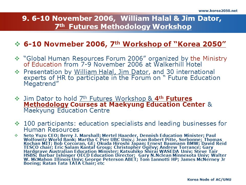 www.korea2050.net Korea Node of AC/UNU 9. 6-10 November 2006, William Halal & Jim Dator, 7 th Futures Methodology Workshop 6-10 Novmeber 2006, 7 th Wo
