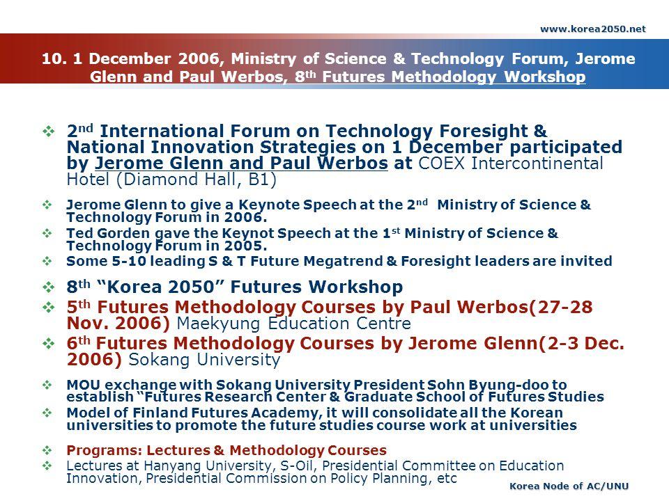 www.korea2050.net Korea Node of AC/UNU 10. 1 December 2006, Ministry of Science & Technology Forum, Jerome Glenn and Paul Werbos, 8 th Futures Methodo