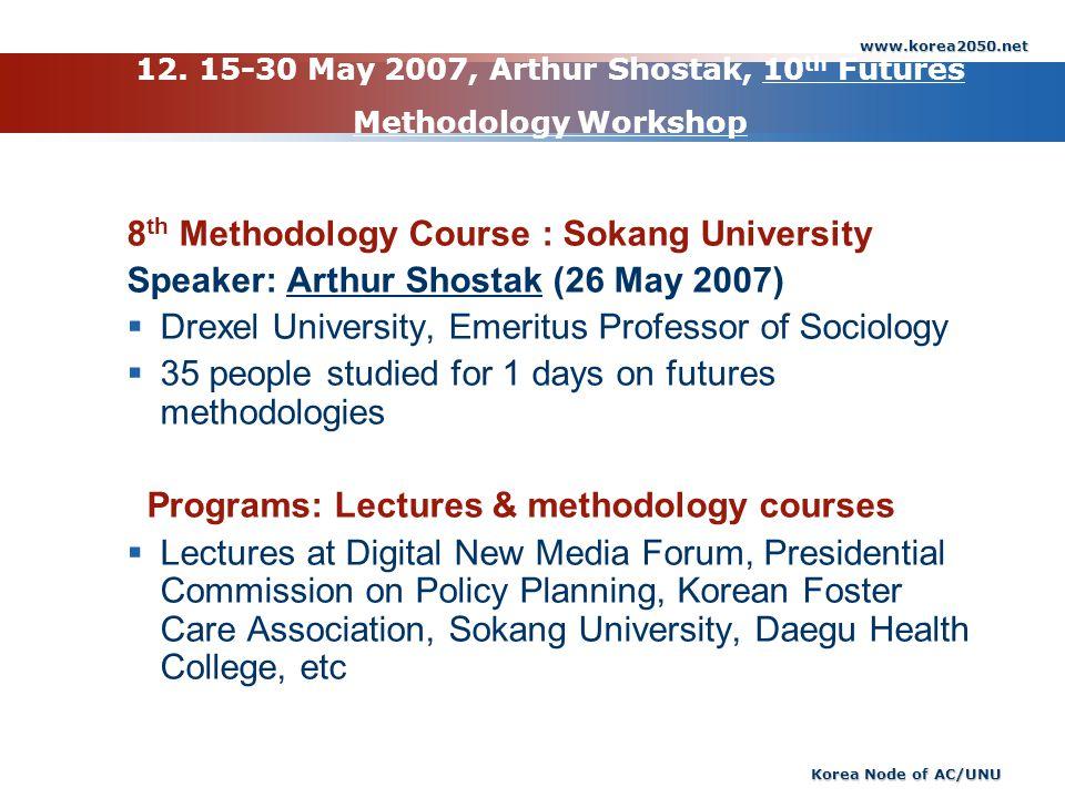 www.korea2050.net Korea Node of AC/UNU 12. 15-30 May 2007, Arthur Shostak, 10 th Futures Methodology Workshop 8 th Methodology Course : Sokang Univers