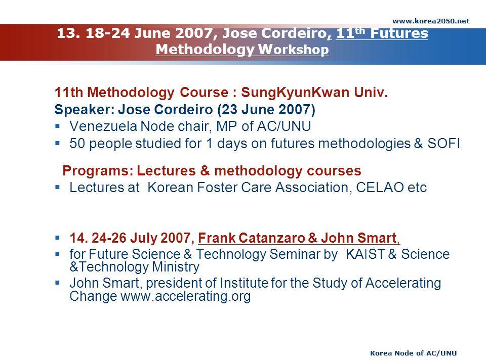 www.korea2050.net Korea Node of AC/UNU 13. 18-24 June 2007, Jose Cordeiro, 11 th Futures Methodology W orkshop 11th Methodology Course : SungKyunKwan