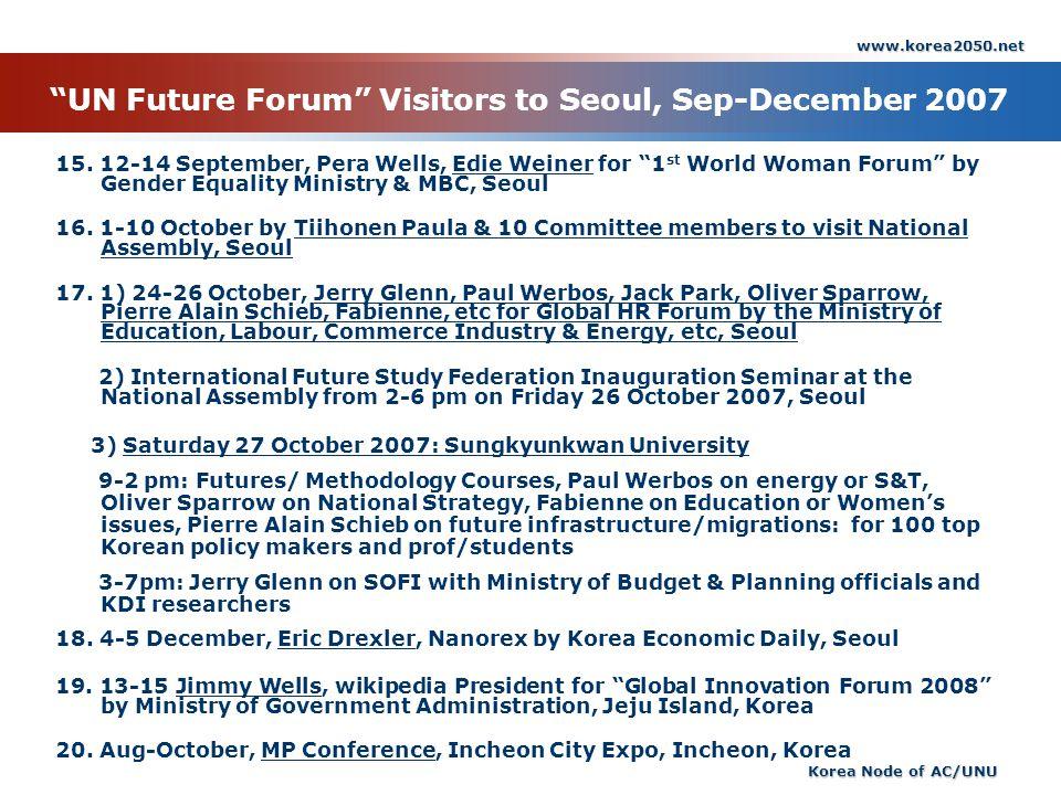 www.korea2050.net Korea Node of AC/UNU UN Future Forum Visitors to Seoul, Sep-December 2007 15. 12-14 September, Pera Wells, Edie Weiner for 1 st Worl