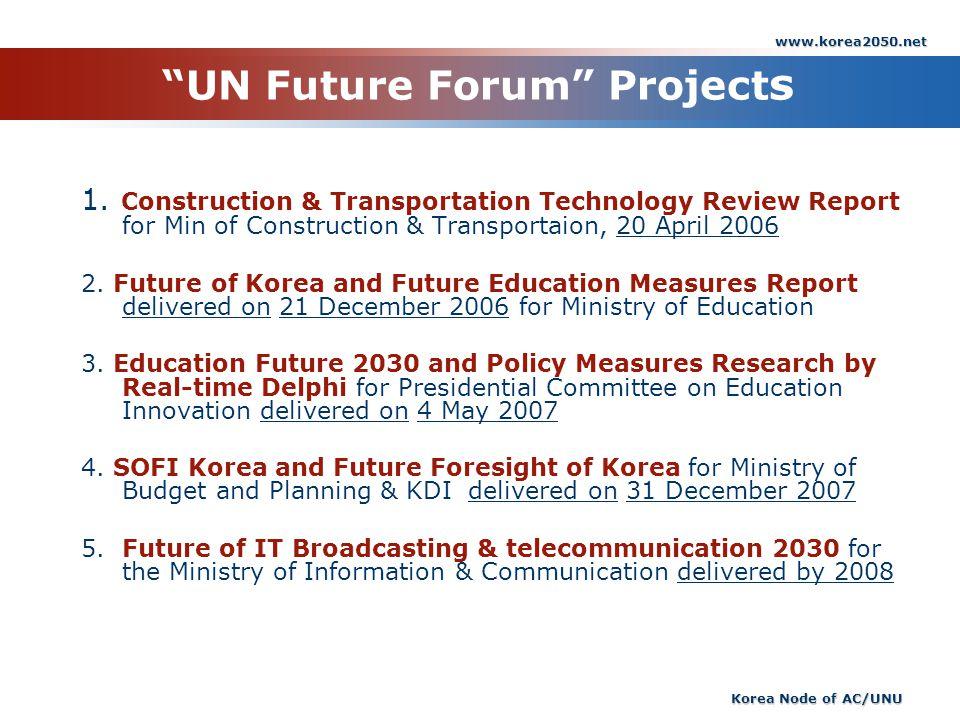 www.korea2050.net Korea Node of AC/UNU UN Future Forum Project s 1. Construction & Transportation Technology Review Report for Min of Construction & T