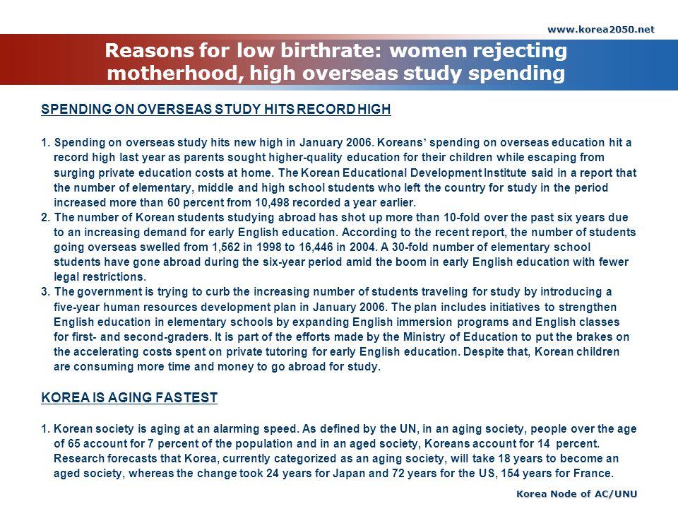 www.korea2050.net Korea Node of AC/UNU Reasons for low birthrate: women rejecting motherhood, high overseas study spending SPENDING ON OVERSEAS STUDY