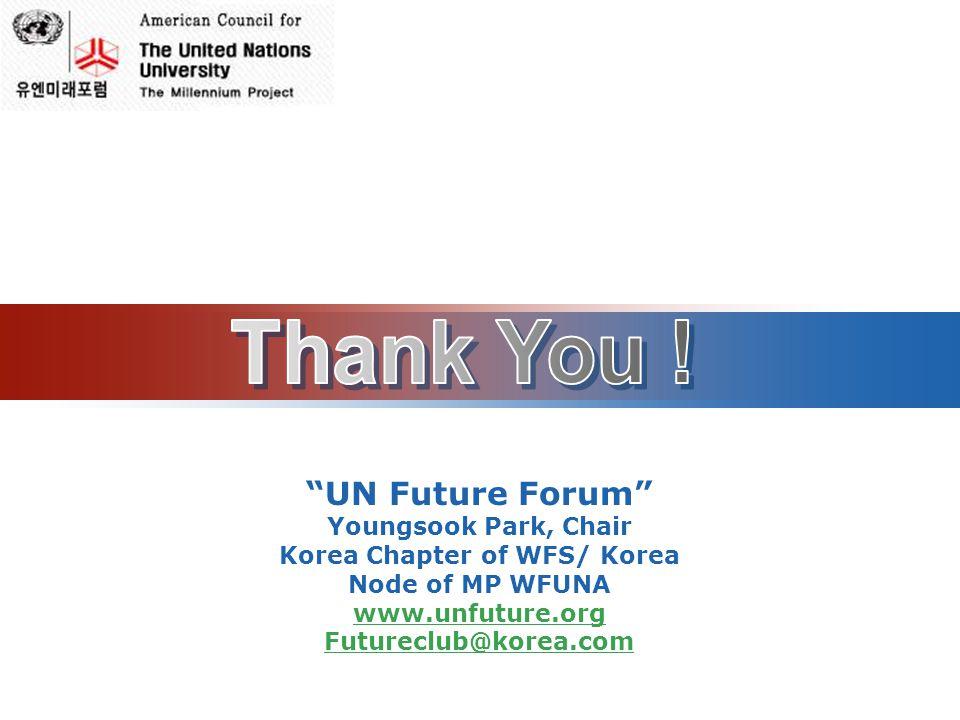 LOGO UN Future Forum Youngsook Park, Chair Korea Chapter of WFS/ Korea Node of MP WFUNA www.unfuture.org Futureclub@korea.com
