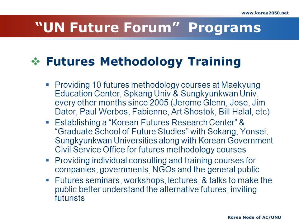 www.korea2050.net Korea Node of AC/UNU UN Future Forum Programs Futures Methodology Training Providing 10 futures methodology courses at Maekyung Educ