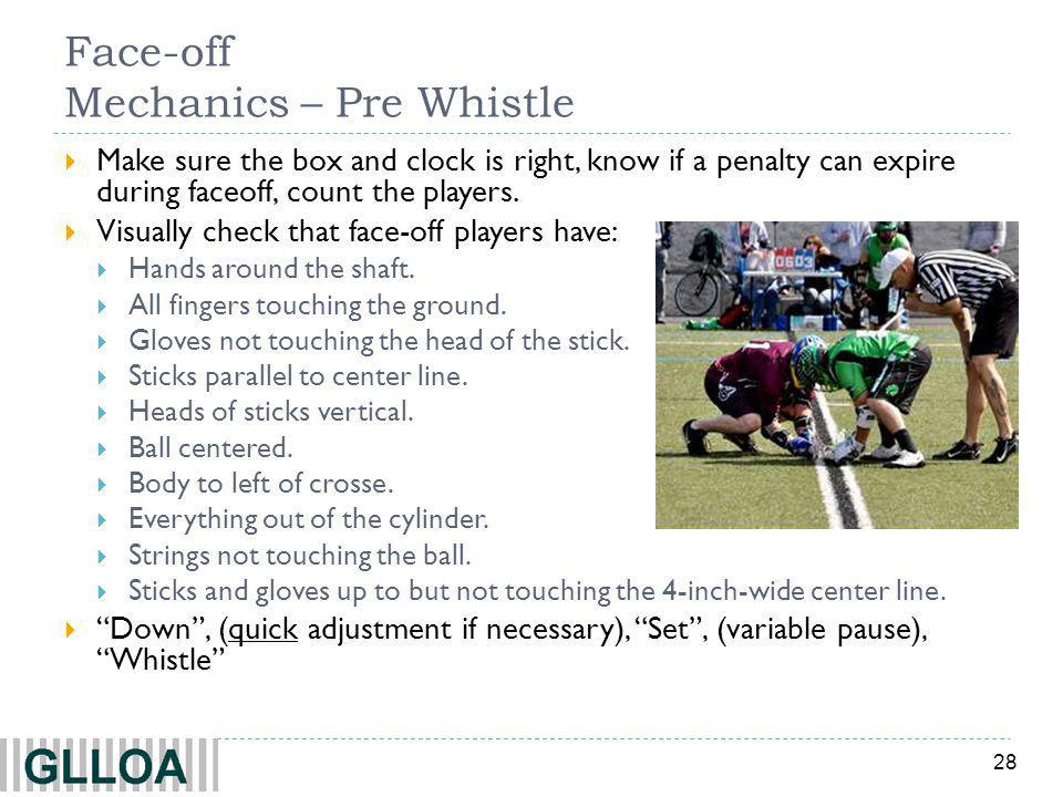 28 Face-off Mechanics – Pre Whistle Make sure the box and clock is right, know if a penalty can expire during faceoff, count the players.