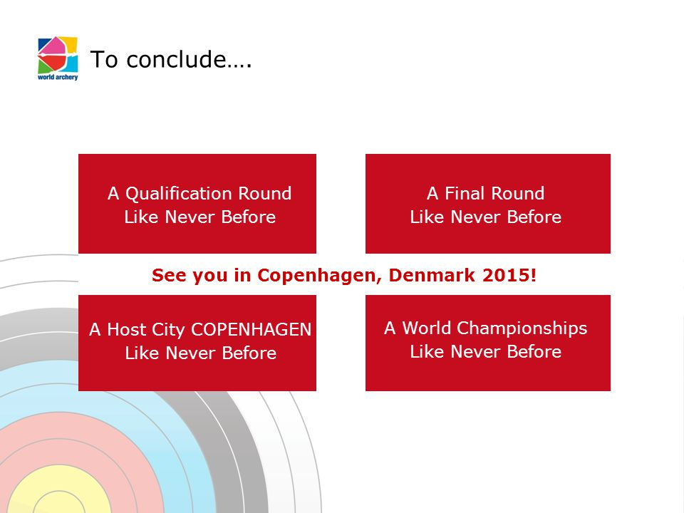 To conclude…. A Qualification Round Like Never Before A Final Round Like Never Before A Host City COPENHAGEN Like Never Before A World Championships L