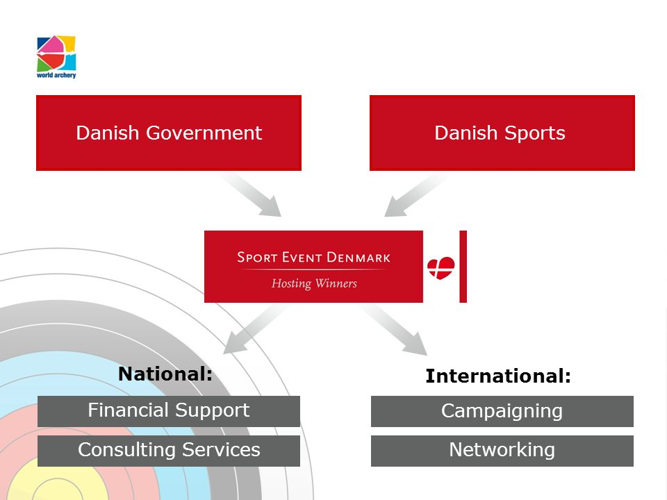 Danish GovernmentDanish Sports Campaigning Networking International: National: Financial Support Consulting Services