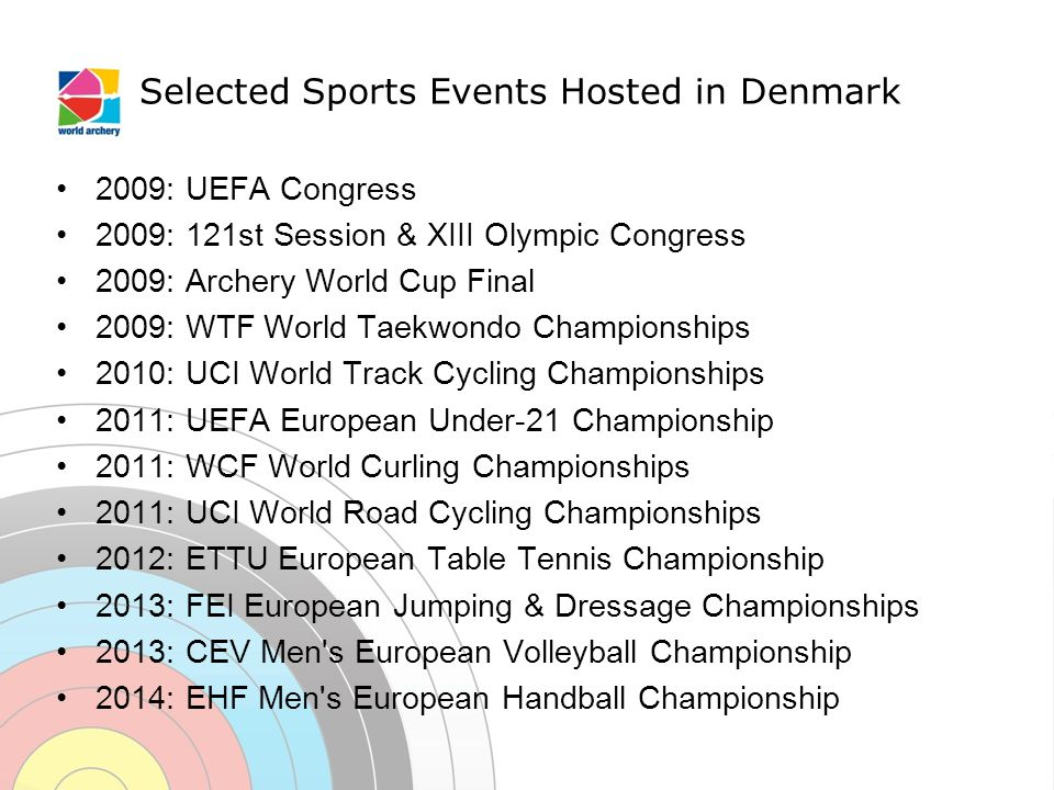 Selected Sports Events Hosted in Denmark 2009: UEFA Congress 2009: 121st Session & XIII Olympic Congress 2009: Archery World Cup Final 2009: WTF World