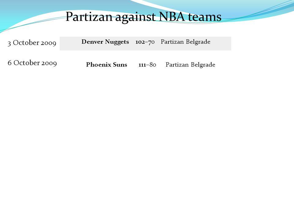 Partizan against NBA teams 3 October 2009 Denver Nuggets 102–70 Partizan Belgrade 6 October 2009 Phoenix Suns 111–80 Partizan Belgrade