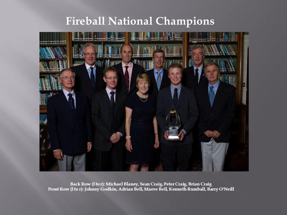 Fireball National Champions Back Row (l to r): Michael Blaney, Sean Craig, Peter Craig, Brian Craig Front Row (l to r): Johnny Godkin, Adrian Bell, Ma