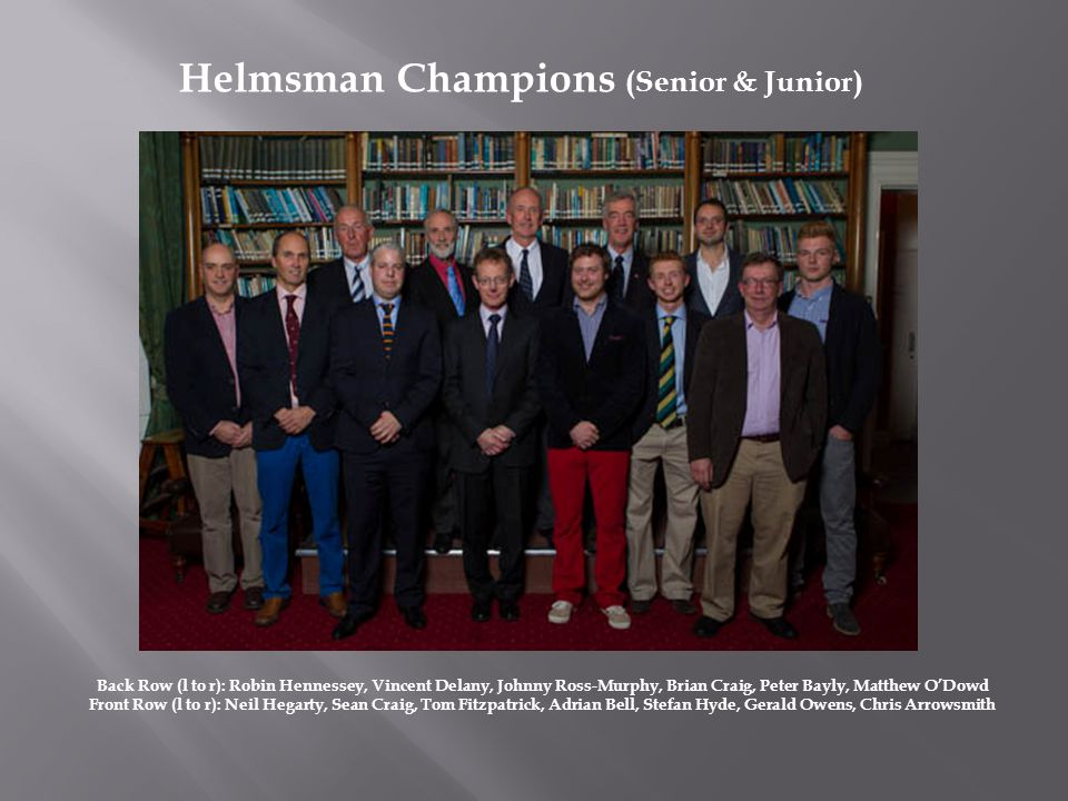 Back Row (l to r): Robin Hennessey, Vincent Delany, Johnny Ross-Murphy, Brian Craig, Peter Bayly, Matthew ODowd Front Row (l to r): Neil Hegarty, Sean Craig, Tom Fitzpatrick, Adrian Bell, Stefan Hyde, Gerald Owens, Chris Arrowsmith Helmsman Champions (Senior & Junior)