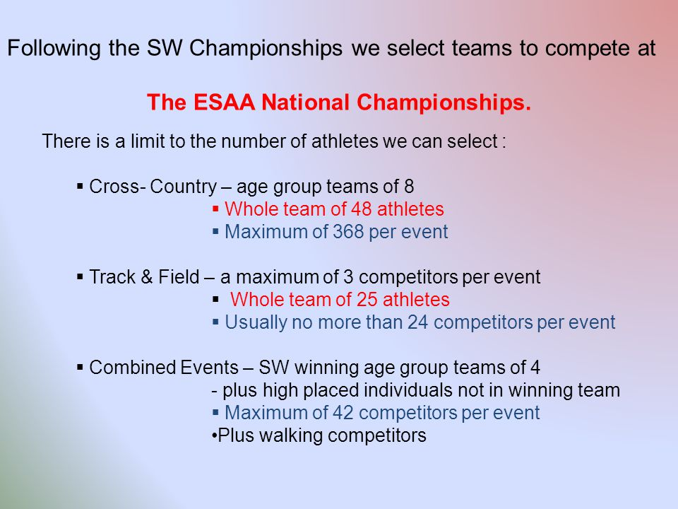 Following the SW Championships we select teams to compete at The ESAA National Championships.