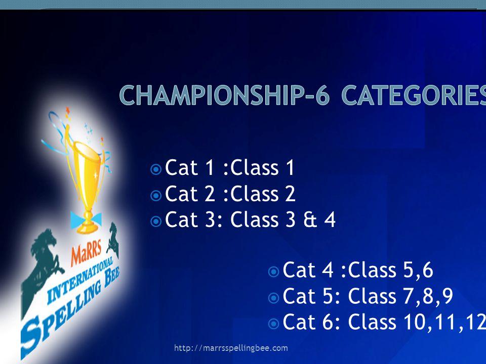 Cat 1 :Class 1 Cat 2 :Class 2 Cat 3: Class 3 & 4 Cat 4 :Class 5,6 Cat 5: Class 7,8,9 Cat 6: Class 10,11,12 http://marrsspellingbee.com
