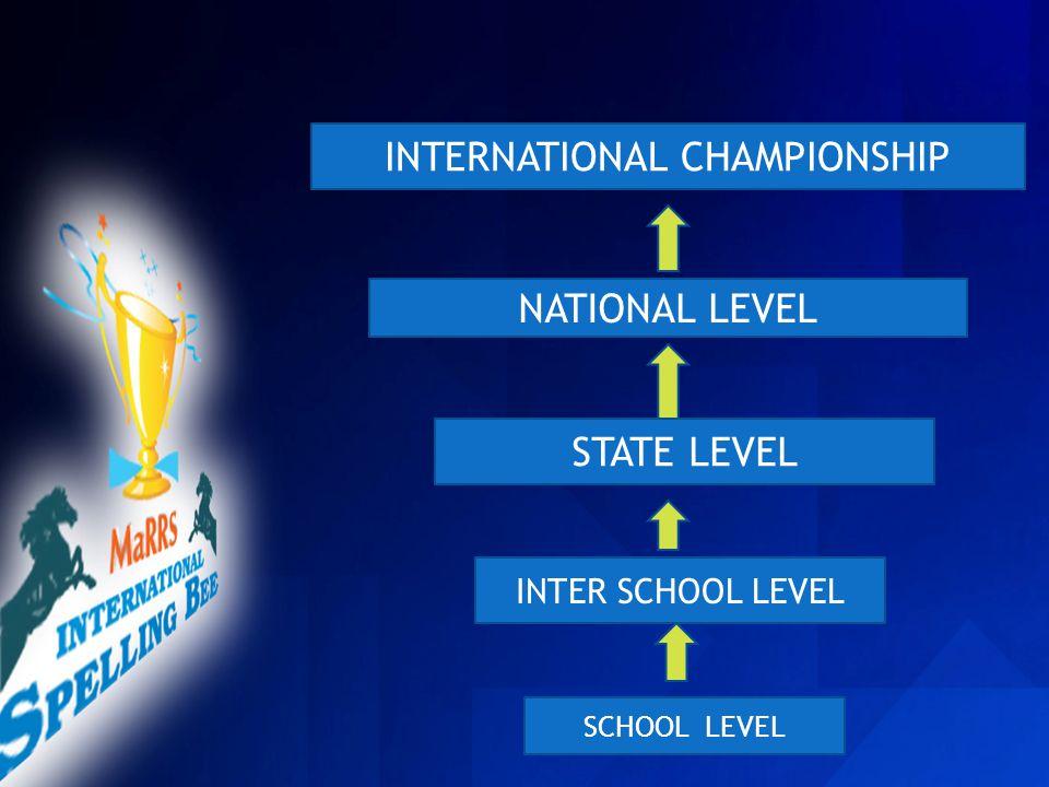 SCHOOL LEVEL INTER SCHOOL LEVEL STATE LEVEL NATIONAL LEVEL INTERNATIONAL CHAMPIONSHIP http://marrsspellingbee.com